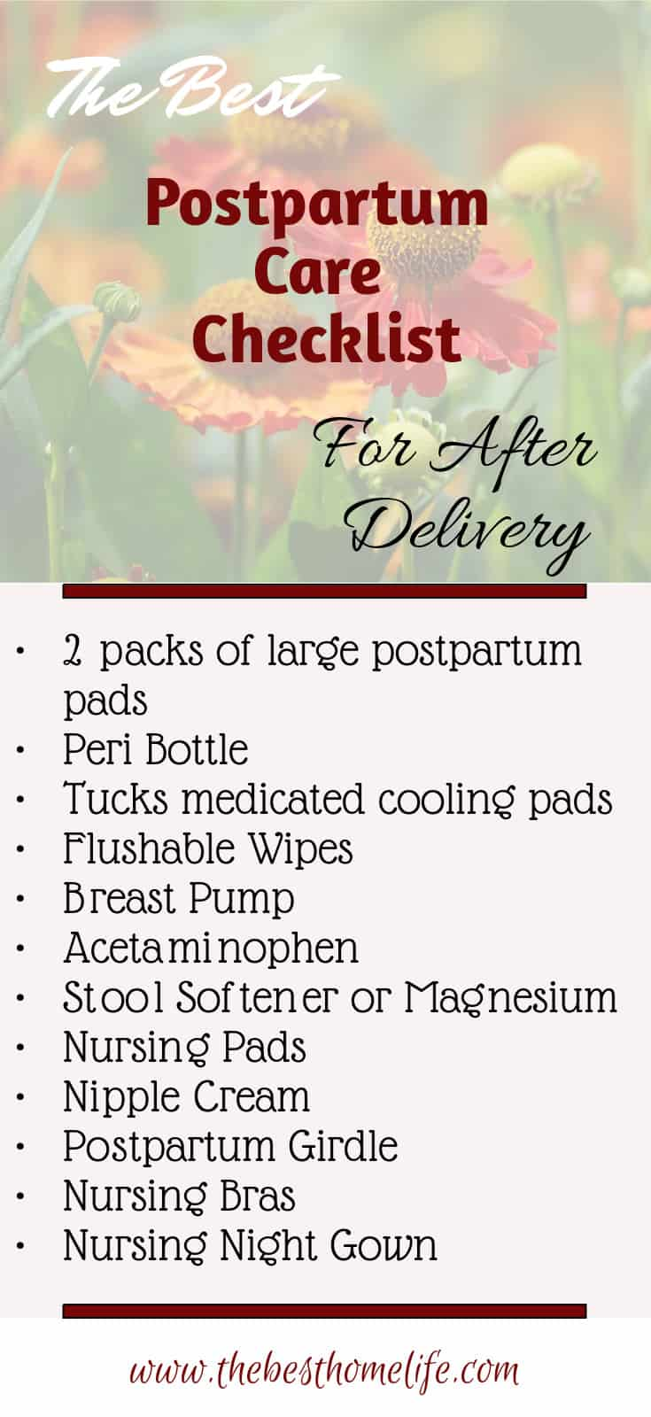 The Best Postpartum Checklist for After Delivery: Be prepared for your postpartum period after delivery. Get the list you are needing all in one spot. pregnancy | postpartum | pregnant | mommy care | delivery | labor | momlife |