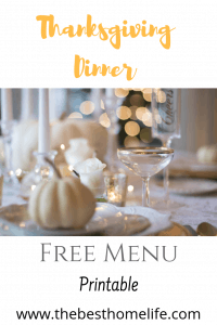 Thanksgiving Dinner Menu Printable