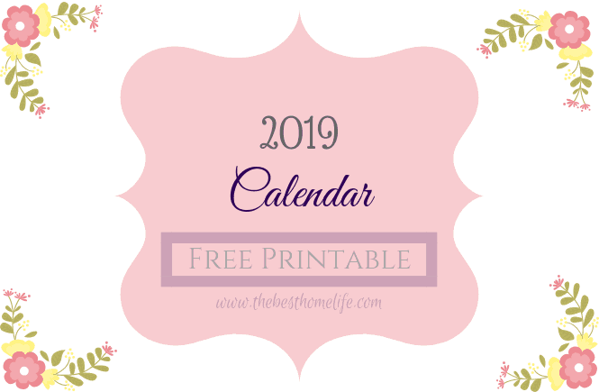 2019 Calendar Free Printable