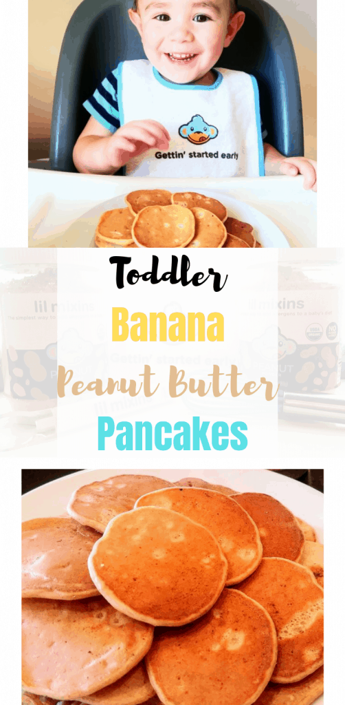 Toddler Banana Peanut Butter Pancakes No sugar added and only 5 ingredients for a fast and delicious breakfast. #recipe #toddler #baby